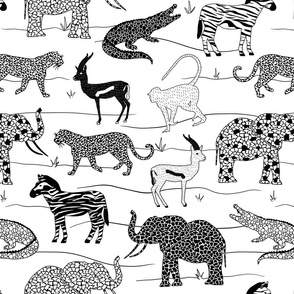Black and White Safari Animals