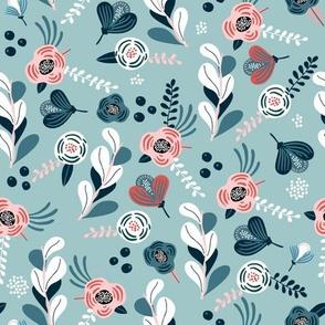 Mint floral pattern