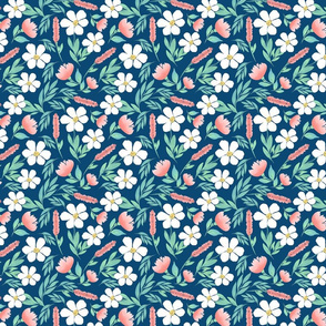 Happy Blooms - Navy