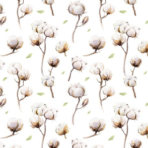 Watercolor pattern with flowers and cotton branches.