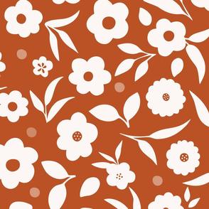 Ditsy Florals in Orange