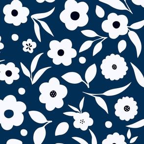 Ditsy Florals in Dark blue