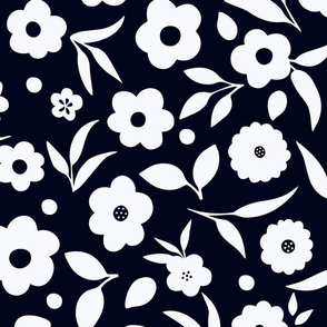 Ditsy Florals in Black and White