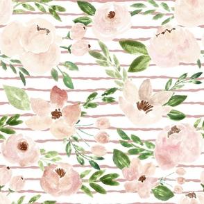 springtime blush metallic watercolor florals  on pink  stripes