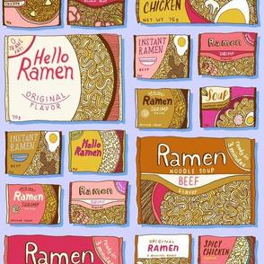 ramen noodle packets - lilac