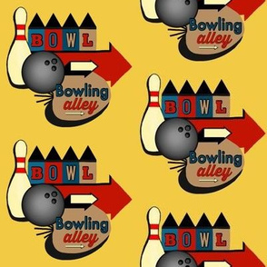 Mod Bowl / Bowling Alley Sign Retro on Goldenrod Yellow