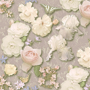 Roses, Iris & Butterflies in Warm Neutral Pastels