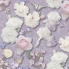 Roses, Iris & Butterflies in Cool Muted Pastels