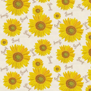 Sunflower pray on off white  med