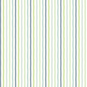 Chambray and Green Painted Stripes