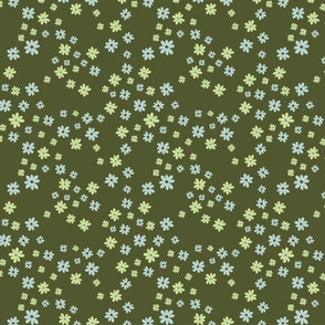 Chambray - Mini tossed daisies on Hunter Green
