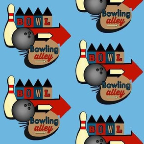 Mod Bowl / Bowling Alley Retro Sign / Blue Red