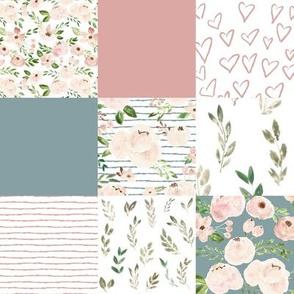 springtime metallic blush quilt - blue & pink