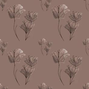 Autumn doodle on pinky beige