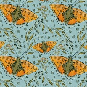Butterfly and blossoms on light blue