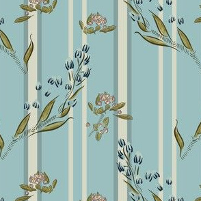 Spring twigs on a striped background