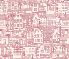 cafe buildings pink