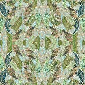 Vintage Period Style Botanical, Mirrored Repeat, Leaves Hand Drawn & Painted