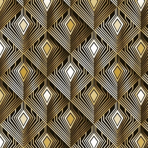 Art deco golden peacock feathers | medium