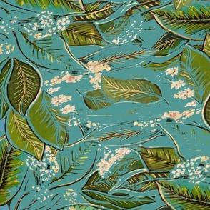 Botanicals - Vine, turquoise blue painting, Centred