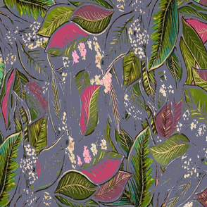 Hand Drawn & Painted  Botanical Illustration - Pinks, Greens, Grey With Gold Detail