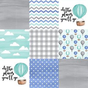 Hot Air Balloon//Oh the places you'll go//Aqua&Cornflower Blue - Wholecloth Cheater Quilt