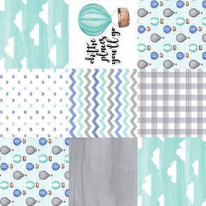 Hot Air Balloon//Oh the places you'll go//Aqua&Cornflower Blue - Wholecloth Cheater Quilt - Rotated