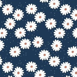 Delicate boho flower white blossom minimal abstract retro daffodil daisy modern navy blue white rust SMALL