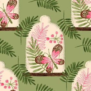 Butterfly Cloche ~ on Green