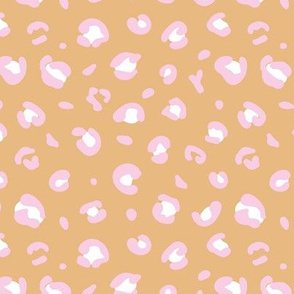 Little spotted leopard dreams panther animal print trend design honey yellow pink