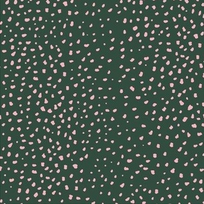 Little cheetah baby animal print minimal small speckles and spots abstract wild cat fur cameo forest green pale pink