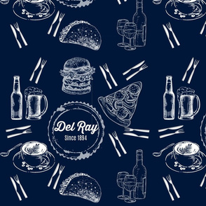 Del Ray Food and Beverage Toile Blue