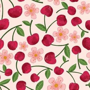 cherries on pale pink
