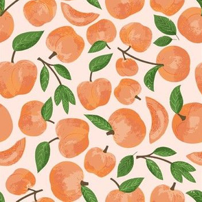 peaches on pale pink