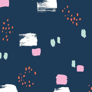 Paint strokes and brush spots dots raw abstract minimal LA Memphis style design boho nursery navy blue mint pink coral