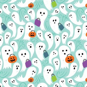 Trick or Treating Ghosts on aqua