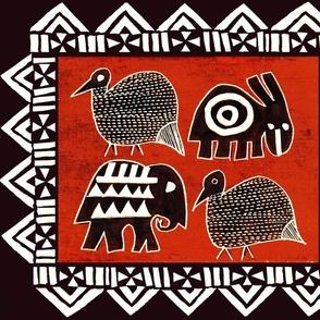 African Animals - Red Black