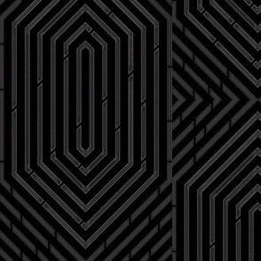 Labyrinth Geometric in  Black & Gray-ch