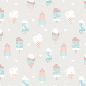 Colorful sweet summer ice cream popsicle sugar cone kids food illustration sand mint blue boys SMALL