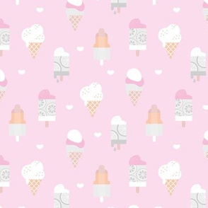 Colorful sweet summer ice cream popsicle sugar cone kids food illustration pink mint girls