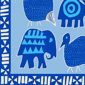 African Animals wallp- Blue