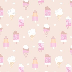Colorful sweet summer ice cream popsicle sugar cone kids food illustration soft beige sand pale pink