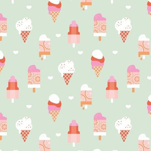 Colorful sweet summer ice cream popsicle sugar cone kids food illustration pink mint peach girls