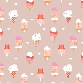 Colorful sweet summer ice cream popsicle sugar cone kids food illustration latte beige coral pink peach