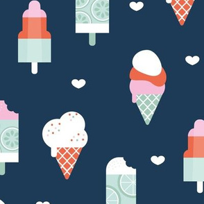 Colorful sweet summer ice cream popsicle sugar cone kids food illustration navy blue mint
