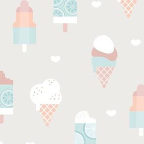 Colorful sweet summer ice cream popsicle sugar cone kids food illustration sand mint blue boys