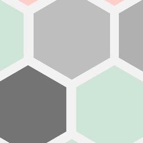 20-05z Jumbo Hexagon Quilt Panel Mint Gray Blush Pink