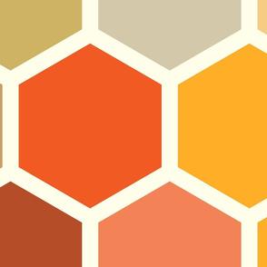 20-05w Jumbo Hexagon Autumn Fall Orange Rust Terra Cotta Yellow Gold