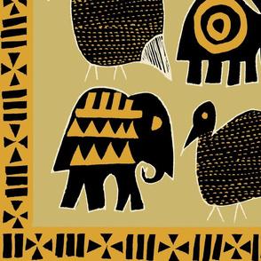 African Animals wallpaper - Yellow
