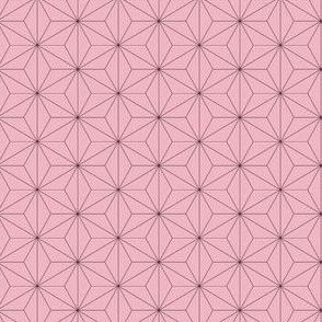 MINI Demon-Slaying Nezuko Asa-no-Ha Pattern Dashed Sashiko Lines on Pink